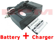 1000mAh DS5370 02491-0066-00 CTA-00730S Replacement Battery + Charger for Polaroid t730 t831 t833 Digital Cameras